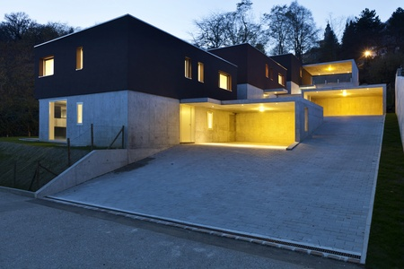view of the beautiful modern houses, outdoor at night photo