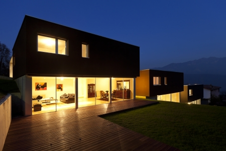 view of the beautiful modern houses, outdoor at night