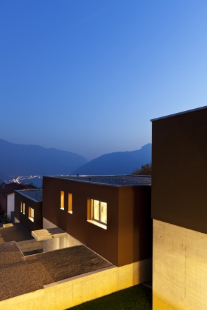residential houses: view of the beautiful modern houses, outdoor at night