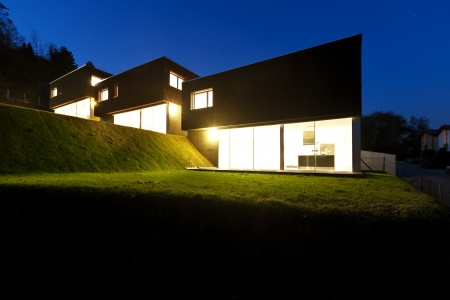 outside of house: view of the beautiful modern houses, outdoor at night