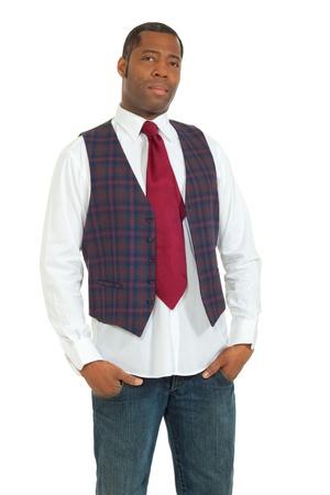 portrait african man on white background photo