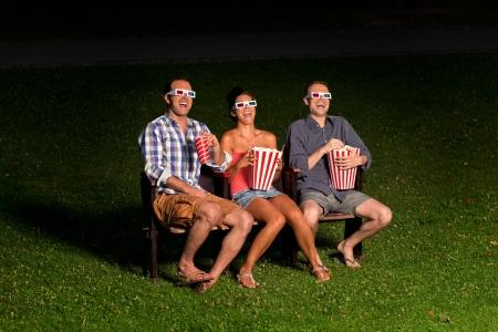 three friends in exter cinema Stock Photo - 14996132