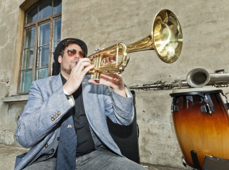 blues musician test the trumpet photo