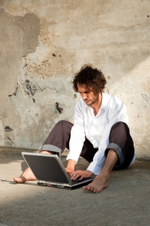 boy write on a laptop Stock Photo - 18788920