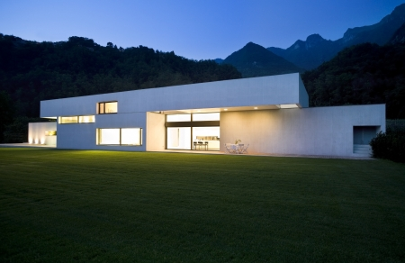 exterior, modern house with big garden Stock Photo