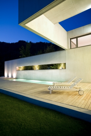 exterior modern beauty house with pool