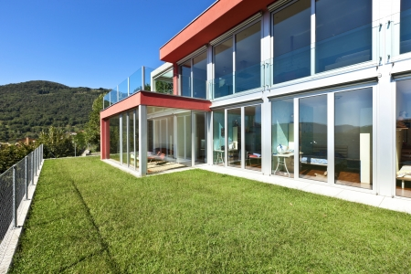 veranda: beautiful house, modern style, view from the garden Stock Photo