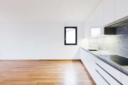 interior spaces: interior modern empty flat, apartment nobody inside
