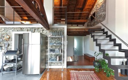 attic: interior of beauty house,  kitchen Stock Photo
