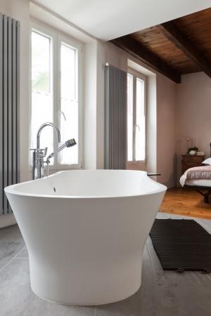 luxury bathroom: interior of beauty house, bathroom Stock Photo