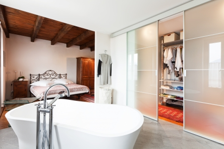 closet: interior of beauty house, bathroom Stock Photo