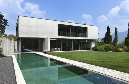 blue facades sky: exterior, modern house and beauty pool  Stock Photo