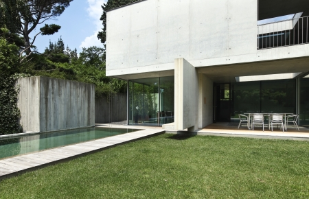 exterior, modern house with pool