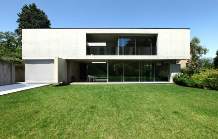 modern house and beauty garden