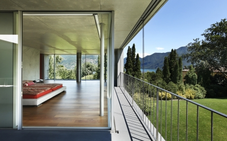 glass house: modern house interior, balcony view , bedroom