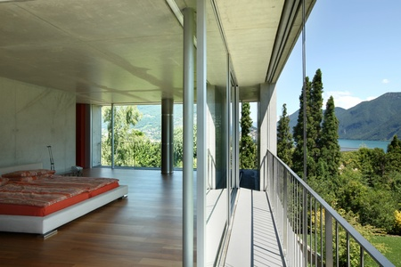 modern house interior, balcony view photo
