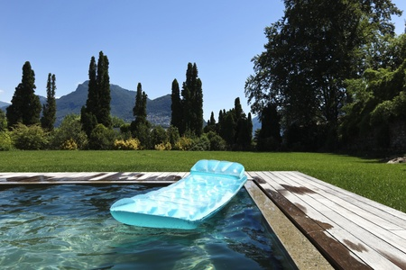 detail board pool with airbed Stock Photo - 21018517