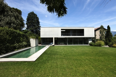 outdoor, modern house with pool  photo