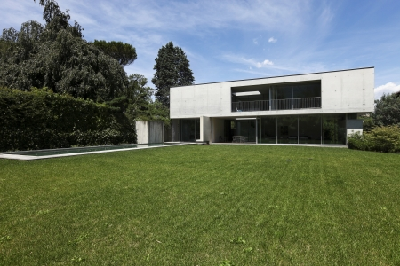modern house in exterior and beauty garden  photo