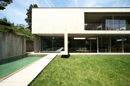 modern house and pool, exterior photo