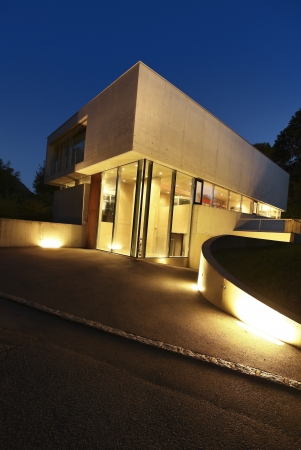 modern house, exterior at the night photo