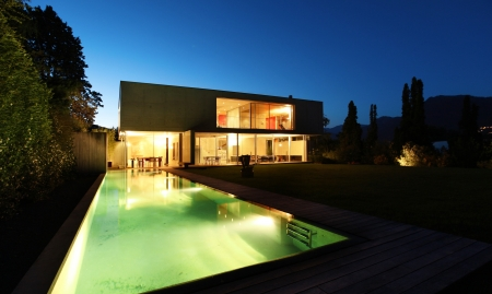 house facades: New architecture, beautiful modern house outdoors at night