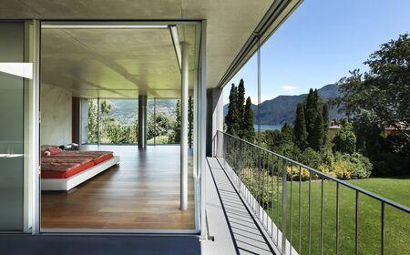 modern house interior, balcony view , bedroom Stock Photo - 21011932