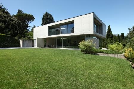 美しさの庭の外観、現代的な家 写真素材