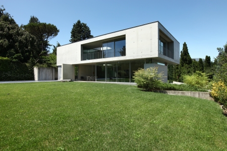 Modern house in exterior, beauty garden
