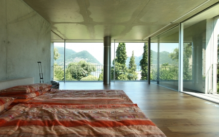 modern house interior, bedroom view  photo