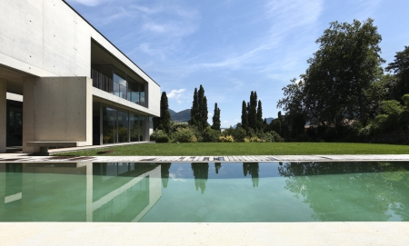 beauty house in summer with pool Stock Photo