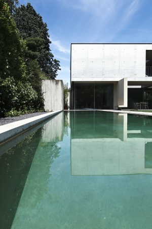 beauty house in summer with pool photo