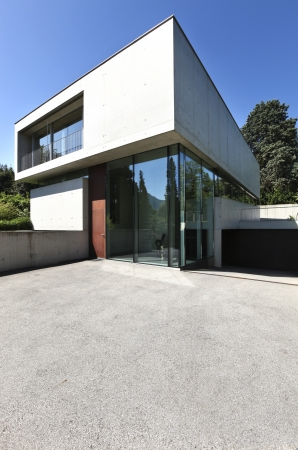 entrance of a modern house in beton