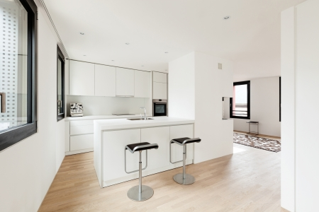 interior new house, modern white kitchen Stock Photo - 22805800