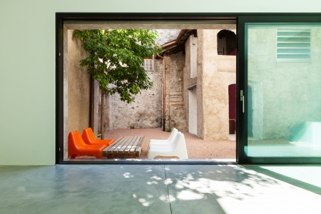 Beautiful modern house, view from the room Stock Photo - 22805841