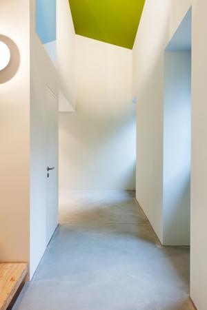 Interior of stylish modern house, corridor illuminated Stock Photo - 22805867