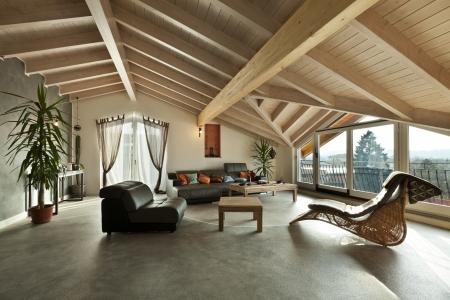 インテリアの新しいロフト、エスニック家具、リビング ルーム
