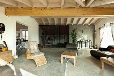 interior new loft, ethnic furniture, living room  Stock Photo