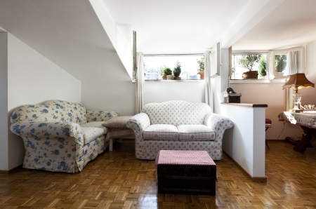 interior apartment, small loft furnished, livingroom Stock Photo - 23448728
