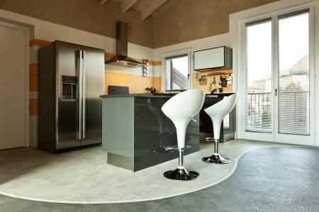 interior, new loft furnished, kitchen island Stock Photo - 23448755