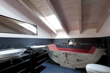 interior, new loft furnished, bathroom with ethnic bath Stock Photo - 23448775