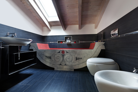 interior, new loft furnished, bathroom with bath Stock Photo - 23448777