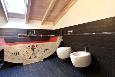interior, new loft furnished, bathroom with ethnic bath  photo