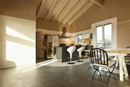 slanted: interior, new loft furnished, view of dining table and kitchen