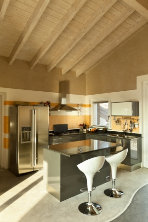 interior, new loft furnished, kitchen island with two stools Stock Photo - 23448800