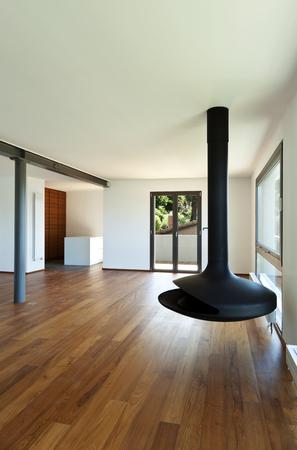 poele bois: Appartement moderne, grand salon avec po�le � bois Banque d'images