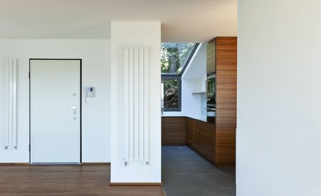 interphone: Modern apartment,entrance door and kitchen view Stock Photo
