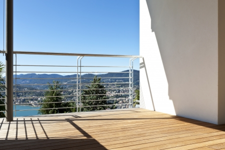 balcony design: Modern apartment, balcony, lake panoramic view