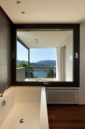 Modern apartment, bath with panoramic view  photo