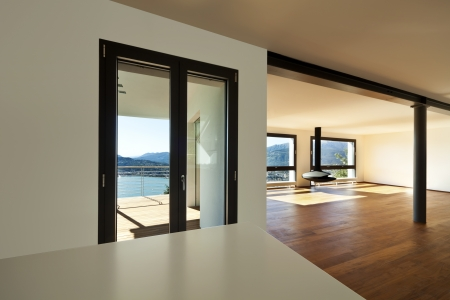 Modern apartment, large room with windows Stock Photo - 23521975